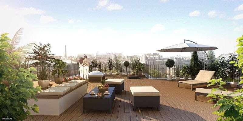 Vente paris 17 appartement neuf bbc magnifique f3 avec for Immobilier avec terrasse paris