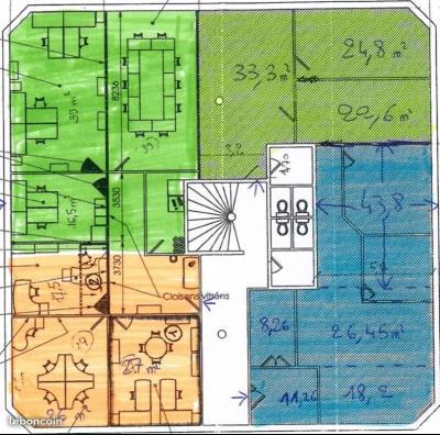 BUREAUX RDC POSSIBILITE ERP 168m² 90€/M²AN