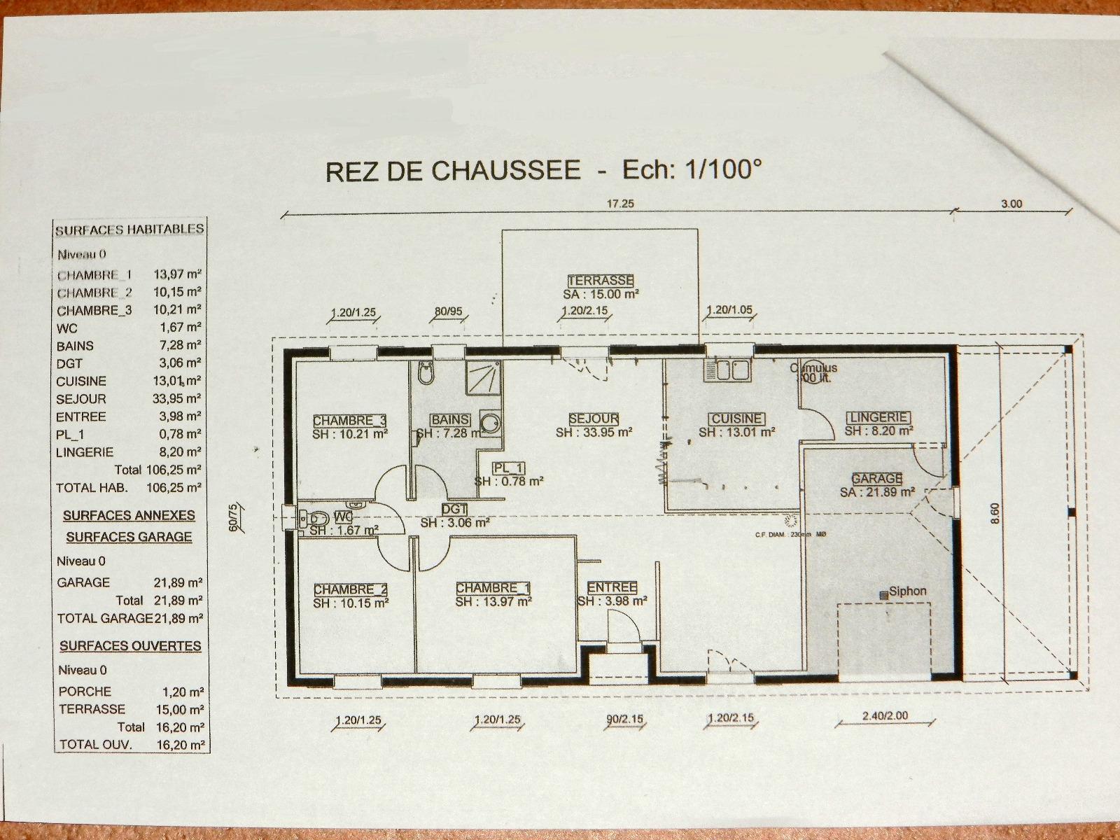 Vente louhans 71500 maison de plain pied 2009 106 m for Plan maison sur terrain