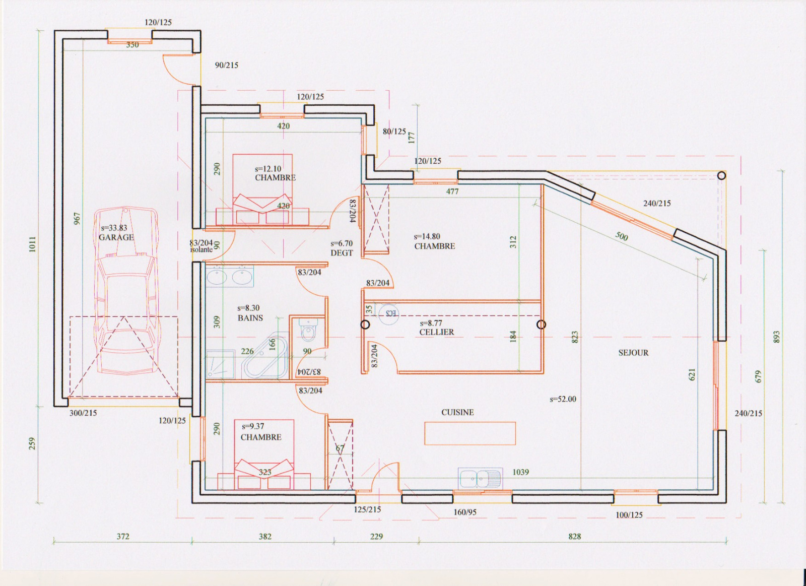 Plan maison mitoyenne plain pied gallery of uac with plan for Plan de maison mitoyenne
