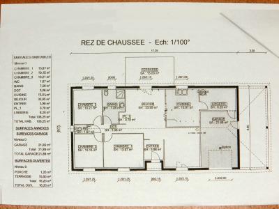 Vente secteur BRANGES (71500), maison de plain-pied (2009), 106 m² sur terrain de 2400 m², PLAN MAISON A VENDRE