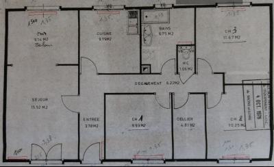 Pierre-de-Bresse (71270) à vendre maison à la campagne avec dépendance sur 8000 m² de terrain., Plan