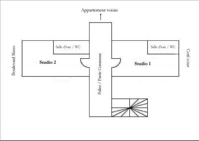 Nice centre (06 Alpes Maritimes), à vendre studios (2) dernier étage proche Garibaldi/Acropolis, plan