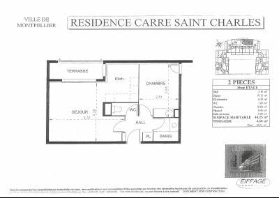 MONTPELLIER RESIDENCE ST CHARLES A VENDRE T2 AVEC TERRASSE ET GARAGE