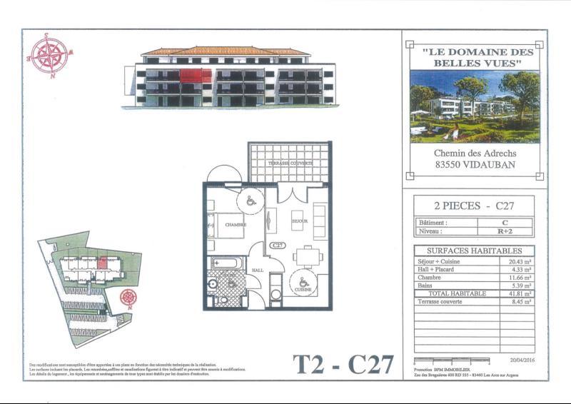 VIDAUBAN: APPARTEMENT T2 NEUF DANS RESIDENCE + PLACE DE PARKING