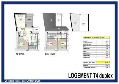 LARMOR BADEN -Appartement 4 pièces de 82  M2 avec terrasse