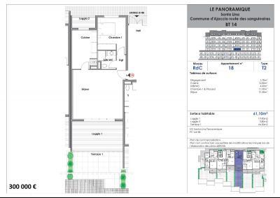 Appartement 2 pièce(s)  de 61 m² env. Agence du sacré coeur, Corse du sud, immobilier Ajaccio