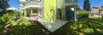 Vue: Appartement T4 Annemasse Jardin terrasse, T4 rez de jardin avec 2 terrasses et jardin privatif au label BBC à vendre à Annemasse