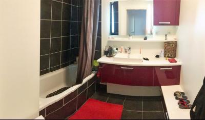 Vue: Appartement T4 Annemasse Salle de bains, T4 rez de jardin avec 2 terrasses et jardin privatif au label BBC à vendre à Annemasse