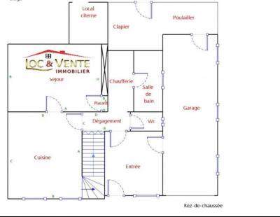 Vue: Croquis rez de chaussée maison en vente à BOULIGNY 55240, Maison BOULIGNY de 3 pi�ce(s) sur 89 m� env.
