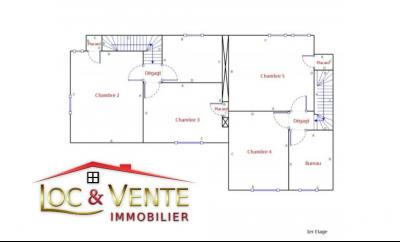 Vue: Croquis 1er étage maison en vente à Piennes, Maison � PIENNES 54490 de 7 pi�ce(s) sur 155 m� env.