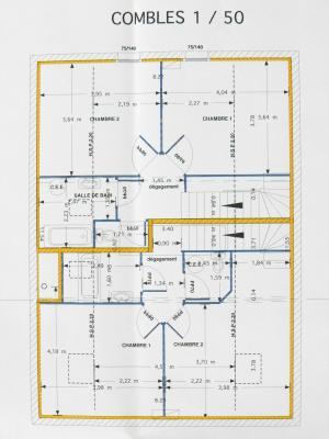 Vente LOUHANS (71), SPECIAL INVESTISSEURS : IMMEUBLE 4 logements LOUES + 2 garages, PLAN ETAGE DUPLEX