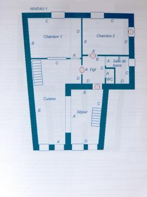 Vente MONTAIGU (39570), maison de village en pierre 127 m², jardin non attenant 522 m², PLAN 1