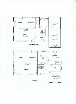 LONS LE SAUNIER (39) à 15 minutes, à vendre maison rénovée 300 m², 3 logements, terrain 13292 m²., PLAN RDC + 1er étage