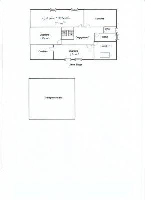 LONS LE SAUNIER (39) à 15 minutes, à vendre maison rénovée 300 m², 3 logements, terrain 13292 m²., PLAN 2ème étage