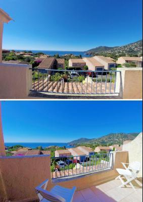 Théoule sur Mer, (06 Alpes Maritimes)à vendre maison jumelée exposé plein sud vue mer, terrasse 20m2, balcon chambre