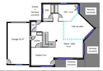 Saint Julien en Genevois (74160) à louer maison contemporaine récente de 7 pièces, Plan RDC