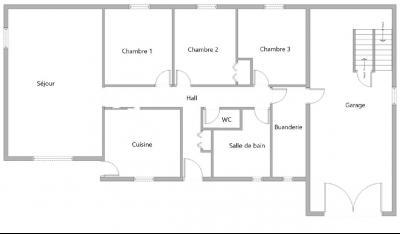 Lons-le-Saunier (39 JURA), à vendre maison de plain-pied, 3 chambres, 2 garages., Plan
