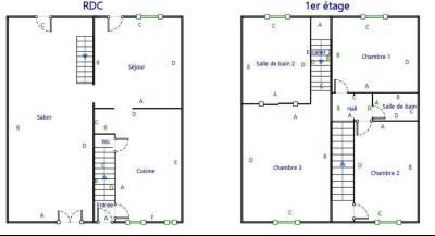 A vendre maison de village, 3 chambres, 553 m² de terrain, au sud de  Lons-le-Saunier., PLAN MAISON