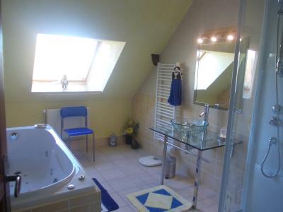 Vends bel ensemble (habitation 290m² et gîte de 158m²) piscine sur 2821m² de terrain clos et arboré., salle de bain