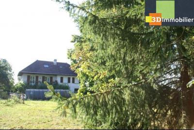Chaussin vends confortable maison de 6 pièces, 150m², sous-sol total sur 3300 m² de terrain., vue arrière depuis parc