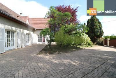 Proche CHAUSSIN vends très belle maison de 6 pièces, 196 m² , garage sur 1100m² de terrain clos., vue de gauche avec cour pavée