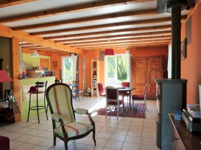 Axe LONS-le-SAUNIER / ORGELET 39 Vends Maison ossature bois 2003 de 135m²env sur terrain 1630m²env, Cheminée pour poêle dans pièce à vivrevie