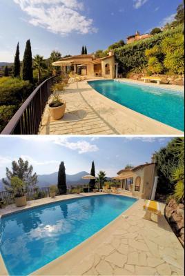 Villa (180m2) avec piscine et vue mer panoramique, proche plages, jardin 1500m2, exposition sud, piscine