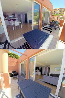 Théoule sur Mer (06), à vendre appartement contemporain, avec vue mer, terrasse, parking, cave, terrasse