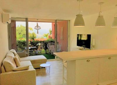 Théoule sur Mer (Alpes Maritimes), à vendre appartement rénové 38m2, terrasse, aperçu  mer, parking., séjour