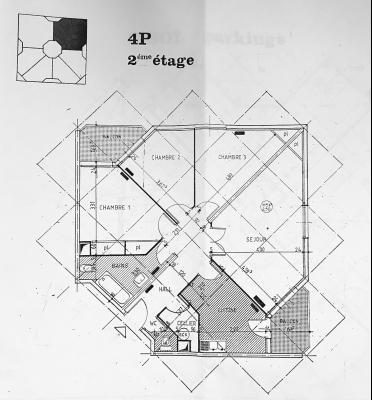 Le Cannet (06 Alpes Maritimes) vends appartement 4 pieces, 82m2, parking + garage, secteur Perier., plan