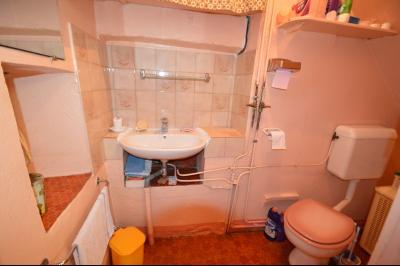 Clairvaux les lacs à 2 min, maison 102 m² habitables avec 3 chambres et terrain clos de 440 m²., Toilette et lavabo rez de chaussée