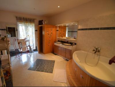 Clairvaux les lacs (Jura), à vendre Ferme ancienne 400 m² rénovée, très belles prestations., salle de bain 14 m² avec sauna