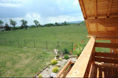 Clairvaux-les-Lacs (Jura) à vendre beaux chalets en madrier Gîtes (2 ogements indépendants)., vue du balcon