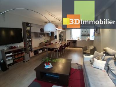 LONS-LE-SAUNIER (39 JURA) centre-ville, à vendre appartement duplex rénové 200 m², 4 chambres calme, SEJOUR