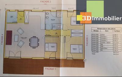 LONS-LE-SAUNIER (39 JURA), à vendre maison plain-pied, ossature bois, 3 chambres, terrain 1126 m²., PLANS